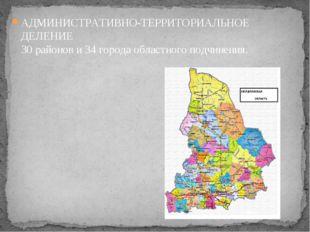 АДМИНИСТРАТИВНО-ТЕРРИТОРИАЛЬНОЕ ДЕЛЕНИЕ 30 районов и 34 города областного по