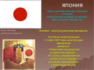 ЯПОНИЯ Флаг Японии (рисунок учащихся) Имеет дипломатические отношения с Росси