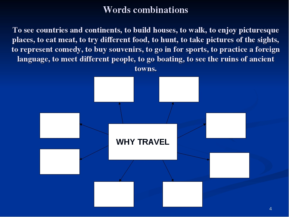 * Words combinations To see countries and continents, to build houses, to wal...