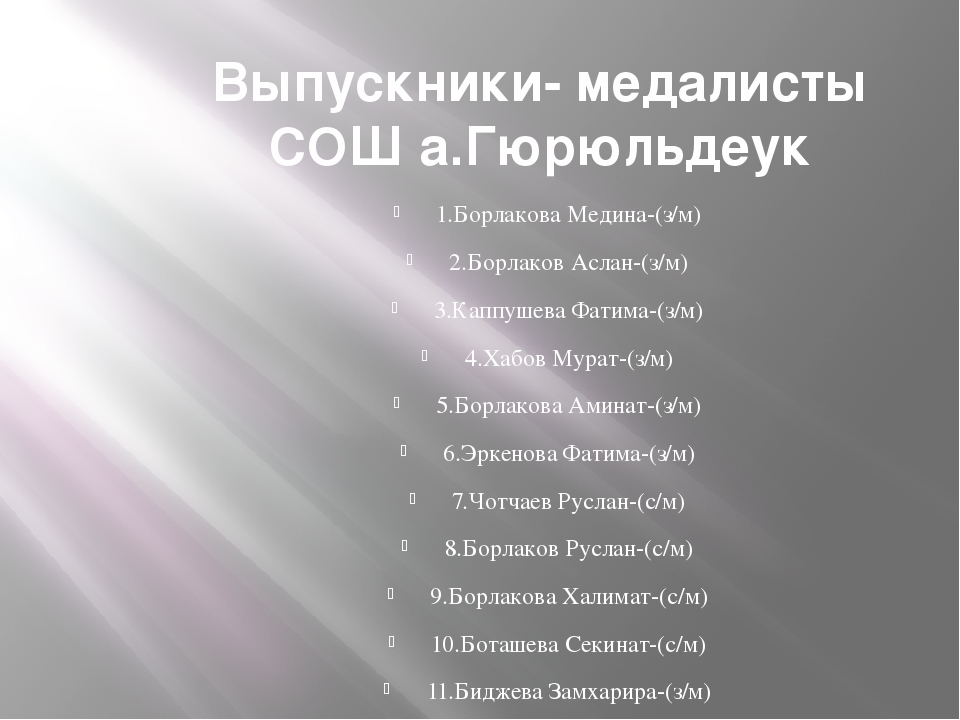 Выпускники- медалисты СОШ а.Гюрюльдеук 1.Борлакова Медина-(з/м) 2.Борлаков Ас...