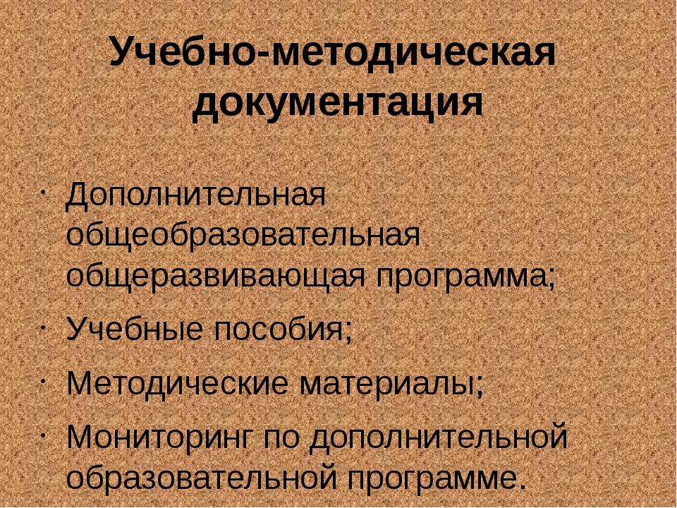 Учебно-методическая документация Дополнительная общеобразовательная общеразви...