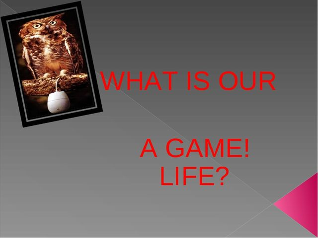 WHAT IS OUR LIFE? A GAME!