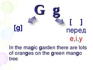 Gg In the magic garden there are lots of oranges on the green mango tree [ʤ