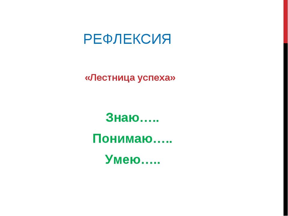 РЕФЛЕКСИЯ «Лестница успеха» Знаю….. Понимаю….. Умею…..