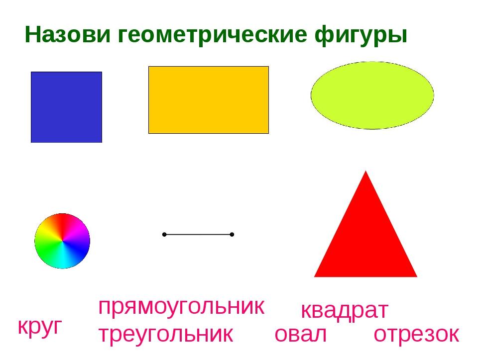 Назови геометрические фигуры круг треугольник овал отрезок прямоугольник квад...