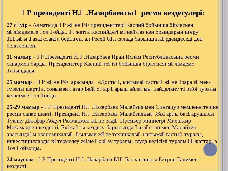 ҚР президенті Н.Ә.Назарбаевтың ресми кездесулері: 27 сәуір ‑ Алматыда ҚР және...