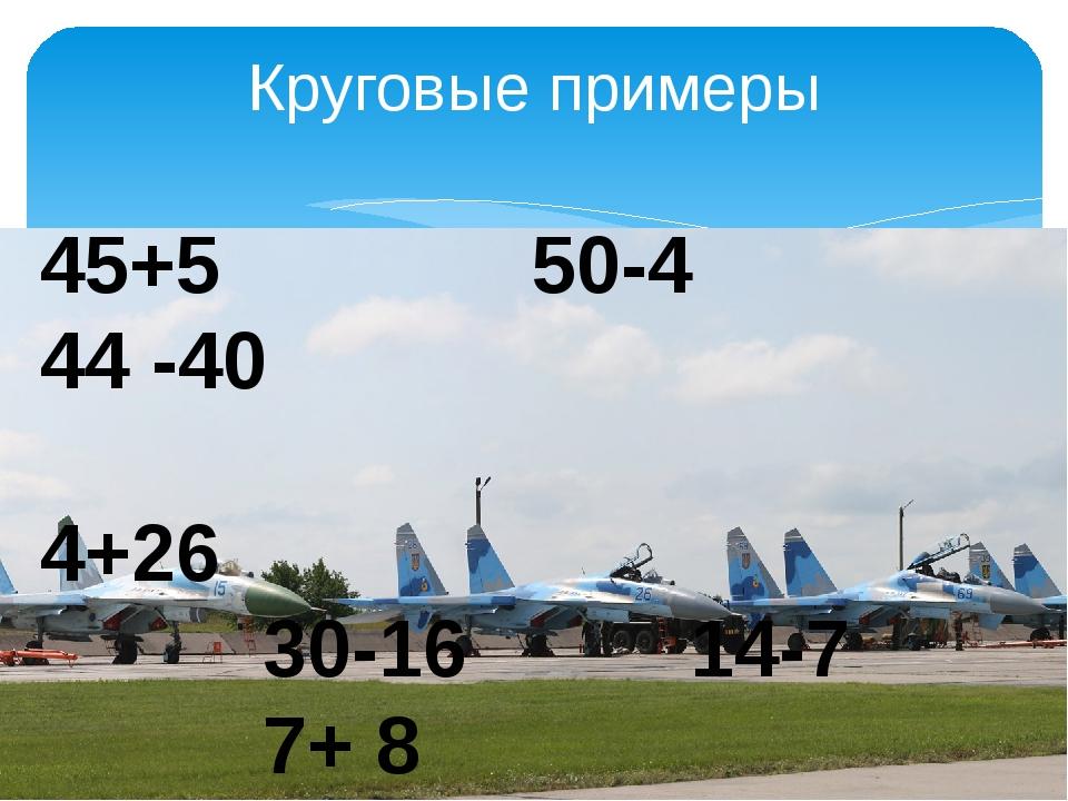 Круговые примеры 45+5 50-4 44 -40 4+26 30-16 14-7 7+ 8 15+30