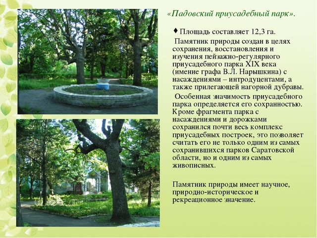 «Падовский приусадебный парк». Площадь составляет 12,3 га. Памятник природы с...