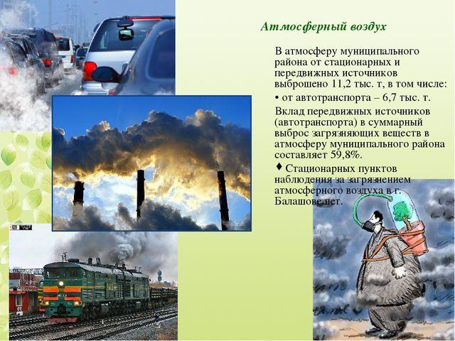 Атмосферный воздух В атмосферу муниципального района от стационарных и передв...