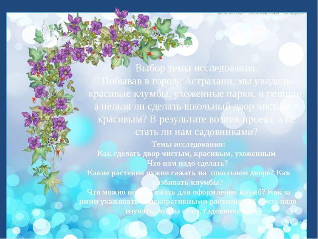 Выбор темы исследования. Побывав в городе Астрахани, мы увидели красивые клу...
