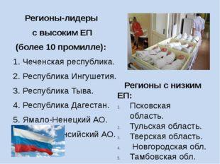 Регионы-лидеры с высоким ЕП (более 10 промилле): 1. Чеченская республика. 2.