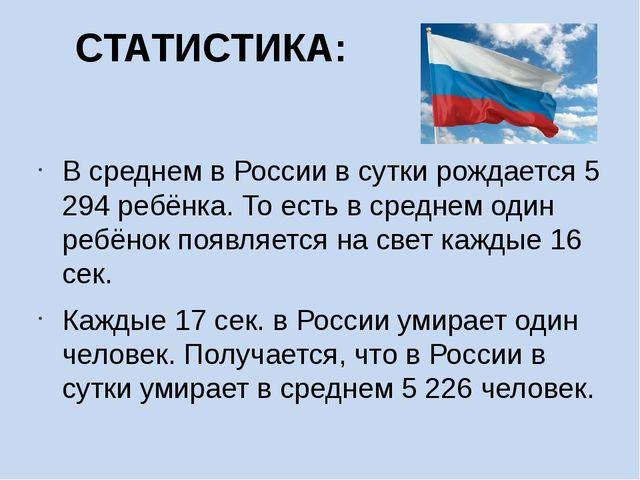 СТАТИСТИКА: В среднем в России в сутки рождается 5 294 ребёнка. То есть в сре...