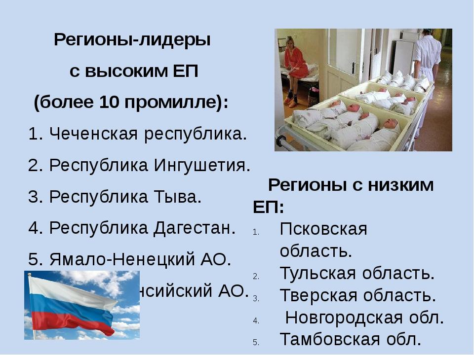 Регионы-лидеры с высоким ЕП (более 10 промилле): 1. Чеченская республика. 2....
