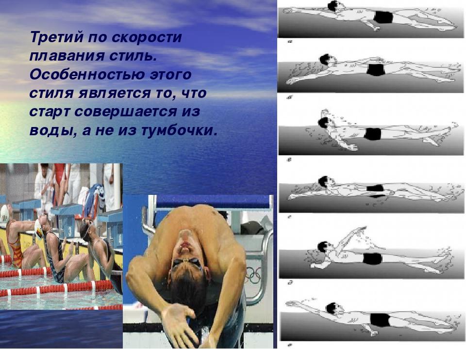 Третий по скорости плавания стиль. Особенностью этого стиля является то, что...