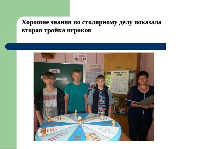 Хорошие знания по столярному делу показала вторая тройка игроков