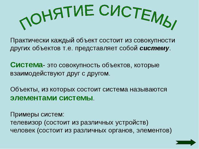 Практически каждый объект состоит из совокупности других объектов т.е. предст...