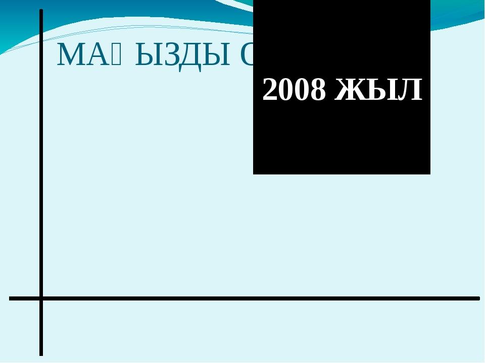 МАҢЫЗДЫ ОҚИҒАЛАР: 2008 ЖЫЛ