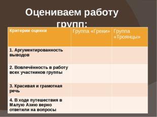 Оцениваем работу групп: Критерии оценки Группа «Греки» Группа «Троянцы» 1. Ар