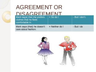 AGREEMENT OR DISAGREEMENT Mark says( that )he prefers clothes that he feels c