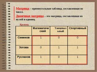Матрица – прямоугольная таблица, составленная из чисел. Двоичная матрица – эт