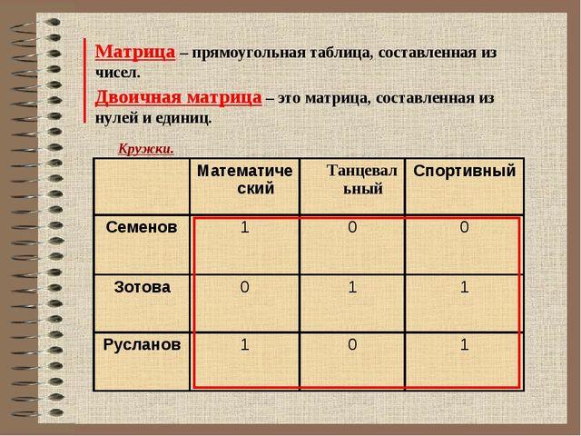Матрица – прямоугольная таблица, составленная из чисел. Двоичная матрица – эт...
