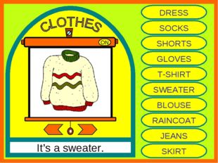 ON It's a sweater. DRESS SOCKS SHORTS GLOVES T-SHIRT SWEATER BLOUSE RAINCOAT