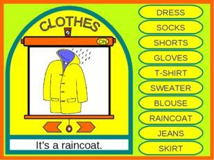 ON It's a raincoat. DRESS SOCKS SHORTS GLOVES T-SHIRT SWEATER BLOUSE RAINCOAT