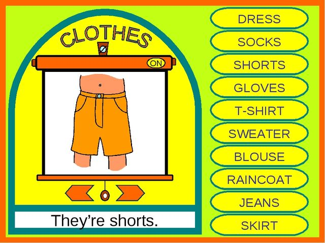 ON They're shorts. DRESS SOCKS SHORTS GLOVES T-SHIRT SWEATER BLOUSE RAINCOAT...