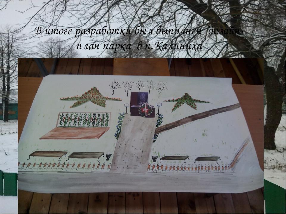 В итоге разработки был выполнен дизайн-план парка в п.Калиниха