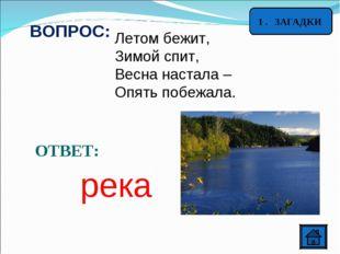 ВОПРОС: Летом бежит, Зимой спит, Весна настала – Опять побежала. ОТВЕТ: река