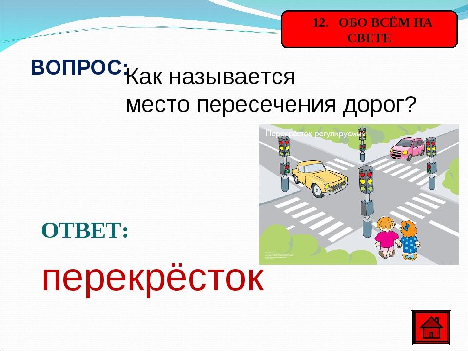 12. ОБО ВСЁМ НА СВЕТЕ ВОПРОС: Как называется место пересечения дорог? ОТВЕТ:...