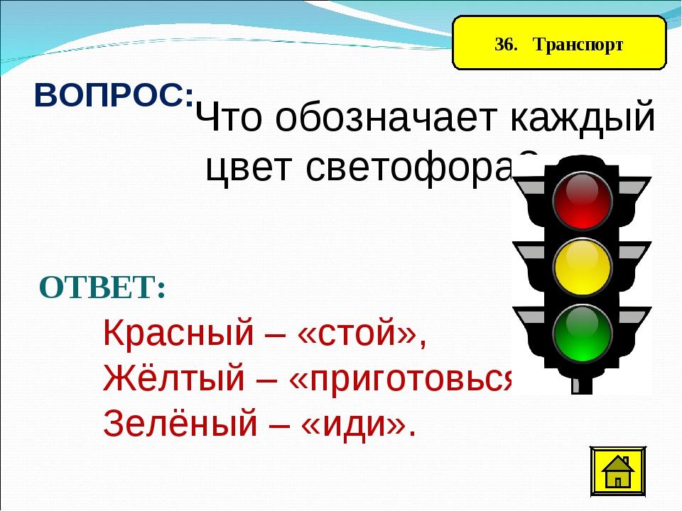 36. Транспорт ВОПРОС: Что обозначает каждый цвет светофора? ОТВЕТ: Красный –...