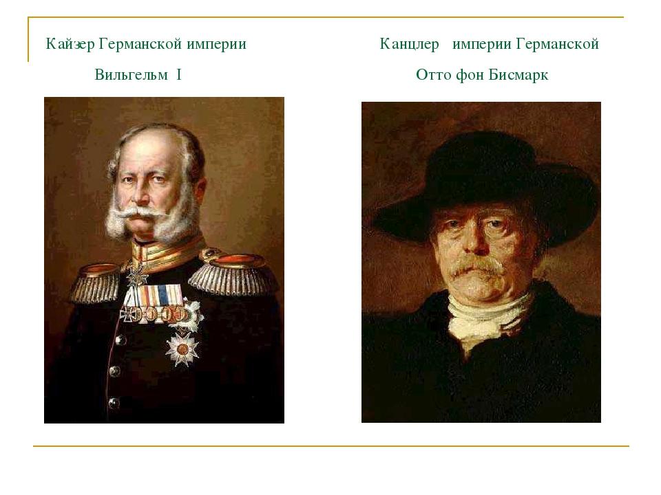 Кайзер Германской империи Канцлер империи Германской Вильгельм I Отто фон Би...