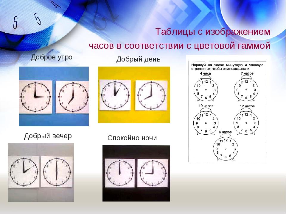 Таблицы с изображением часов в соответствии с цветовой гаммой Доброе утро Доб...