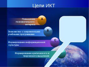 Цели ИКТ Повышение познавательного интереса Знакомство с современными учебным