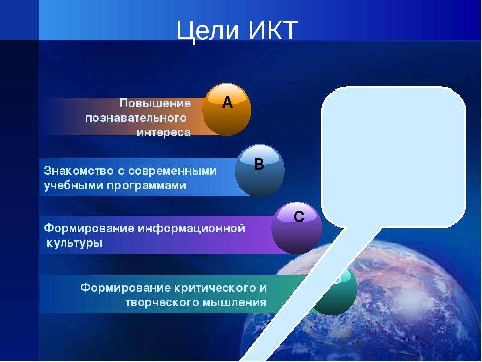 Цели ИКТ Повышение познавательного интереса Знакомство с современными учебным...