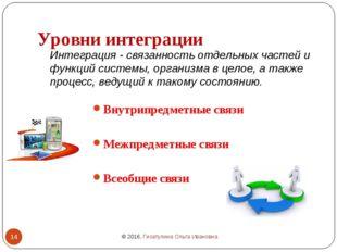 Уровни интеграции Внутрипредметные связи Межпредметные связи Всеобщие связи И