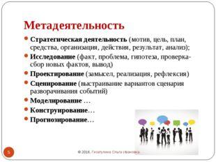 Метадеятельность Стратегическая деятельность (мотив, цель, план, средства, ор