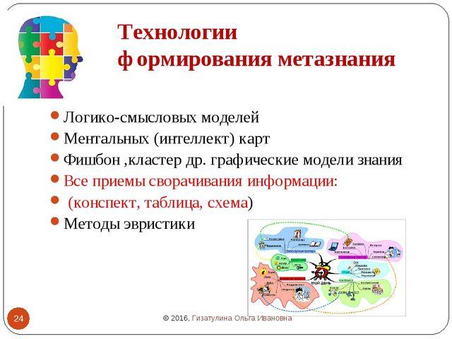 Технологии формирования метазнания Логико-смысловых моделей Ментальных (интел...