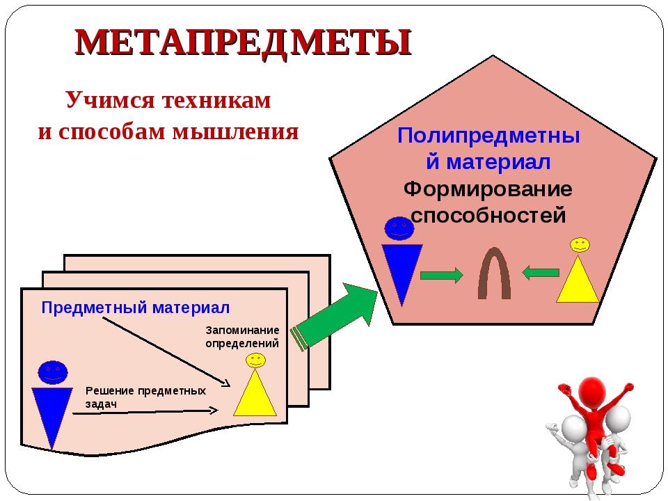 МЕТАПРЕДМЕТЫ Учимся техникам и способам мышления * Предметный материал Решени...
