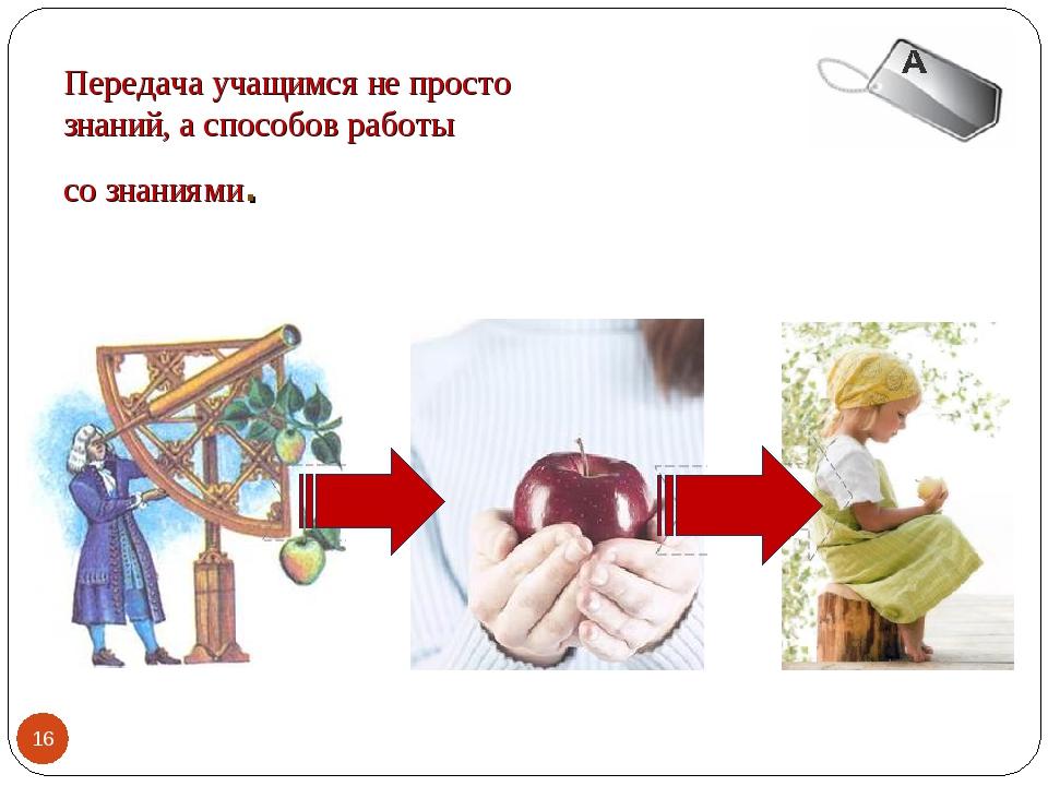 Передача учащимся не просто знаний, а способов работы со знаниями. *