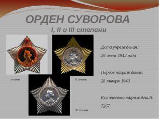 ОРДЕН СУВОРОВА I, II и IIIстепени Дата учреждения: 29июля 1942 года Первое