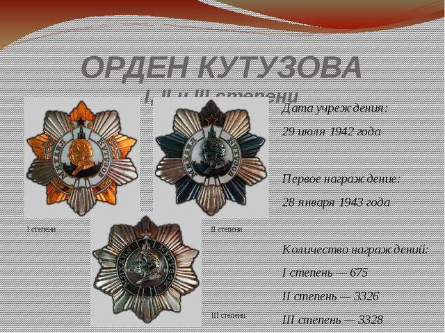 ОРДЕН КУТУЗОВА I, II и IIIстепени Дата учреждения: 29июля 1942 года Первое...
