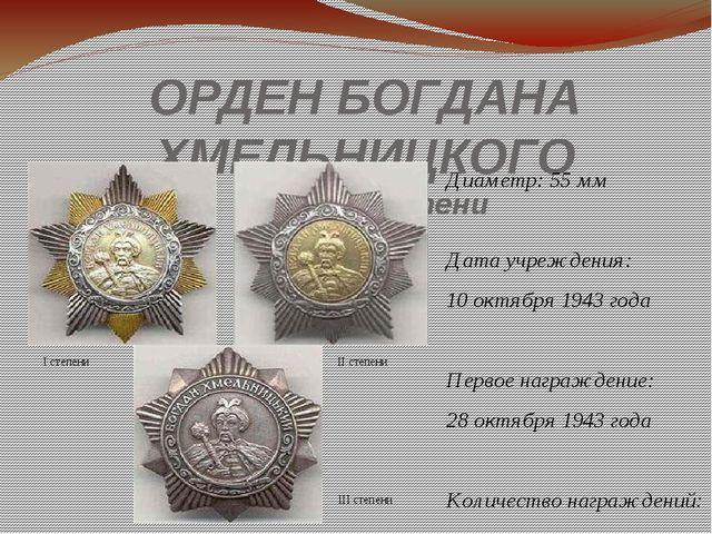 ОРДЕН БОГДАНА ХМЕЛЬНИЦКОГО I,II и III степени Диаметр: 55мм Дата учреждения...