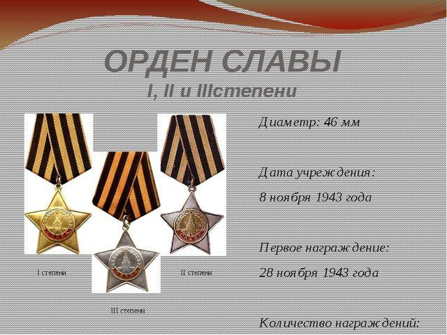 ОРДЕН СЛАВЫ I,II и IIIстепени Диаметр: 46мм Дата учреждения: 8ноября 1943...