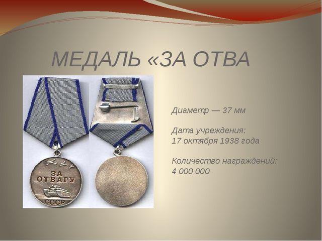 МЕДАЛЬ«ЗАОТВАГУ» Диаметр — 37мм Дата учреждения: 17октября 1938 года Коли...