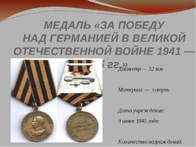 МЕДАЛЬ«ЗАПОБЕДУ НАДГЕРМАНИЕЙ ВВЕЛИКОЙ ОТЕЧЕСТВЕННОЙ ВОЙНЕ 1941— 1945 гг....