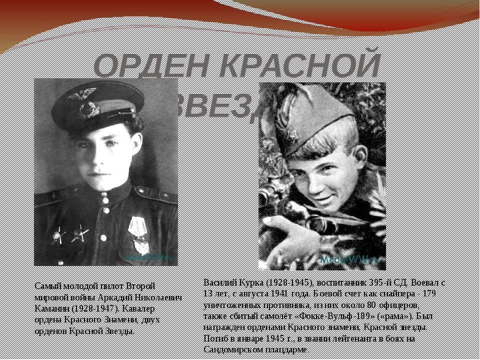 ОРДЕН КРАСНОЙ ЗВЕЗДЫ Самый молодой пилот Второй мировой войны Аркадий Николае...