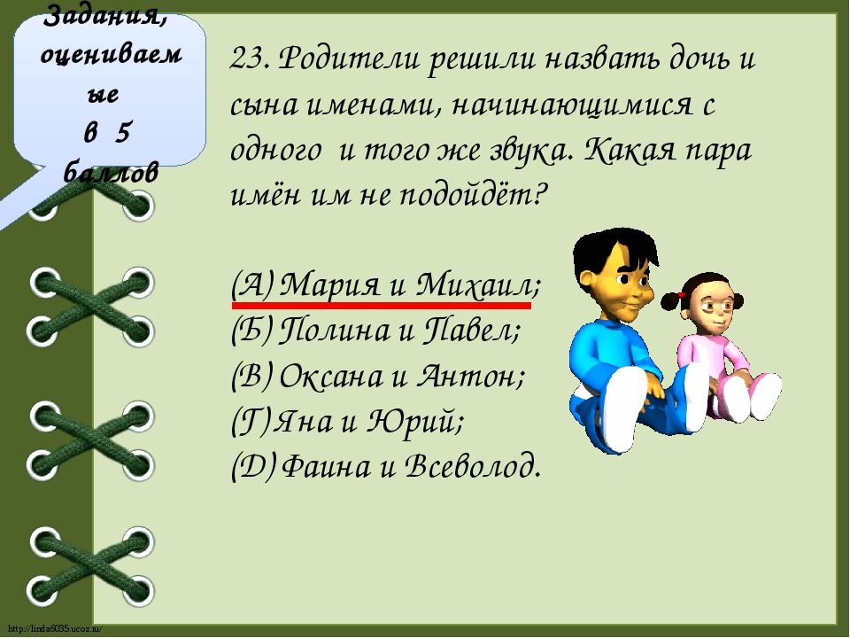 Задания, оцениваемые в 5 баллов 23. Родители решили назвать дочь и сына имена...