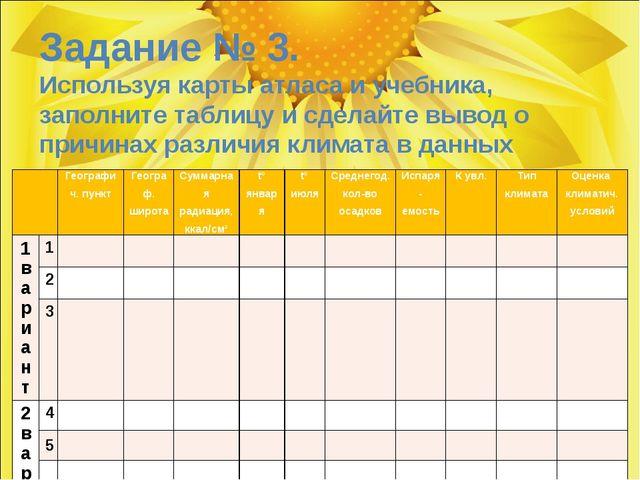 Задание № 3. Используя карты атласа и учебника, заполните таблицу и сделайте...